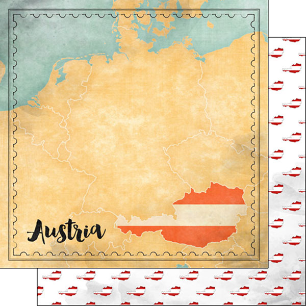 Austria Sights Map 12x12 Double Sided Scrapbooking Paper