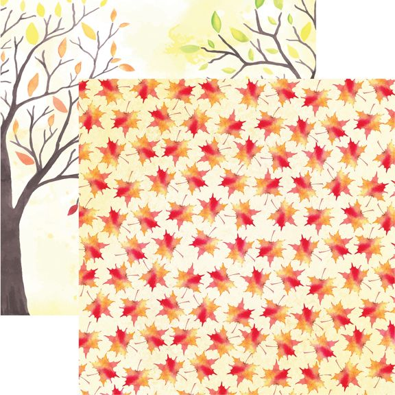 Autumn Foliage 12x12 Double Sided Scrapbooking Paper
