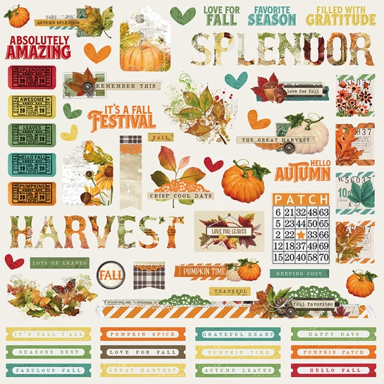 Autumn Splendor 12x12 Cardstock Scrapbooking Stickers