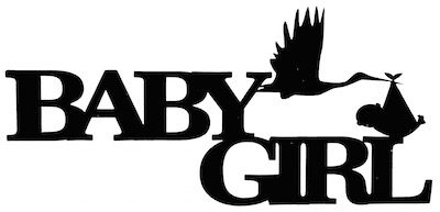Baby Girl Scrapbooking Laser Cut Title with Stork