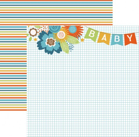 Baby Boy Banner 12x12 Double Sided Scrapbooking Paper