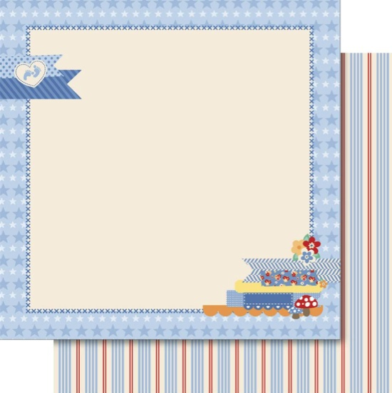 Baby Boy Picture Frame 12x12 Double Sided Scrapbooking Paper
