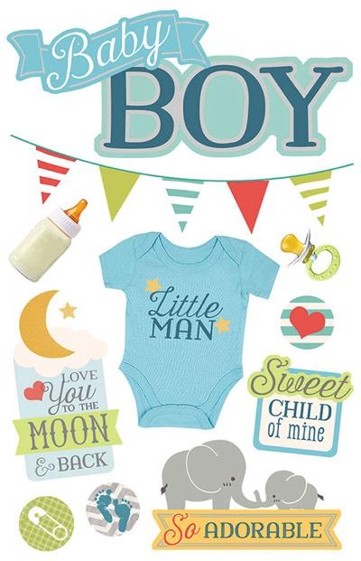 Baby Boy 3D Glittery Scrapbooking Stickers