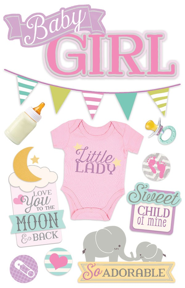 Baby Girl 3D Scrapbooking Stickers