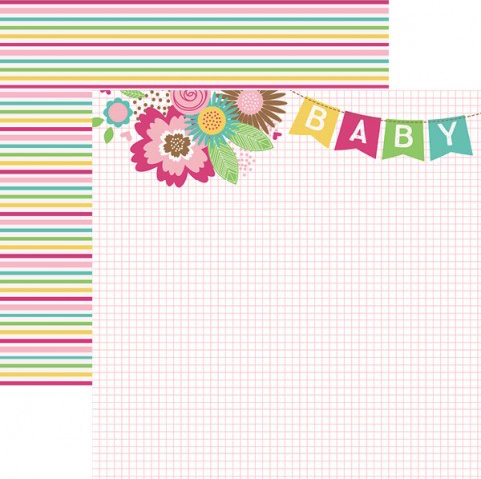 Baby Girl Banner 12x12 Double Sided Scrapbooking Paper