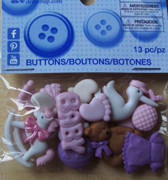 Baby Girl Scrapbooking Buttons