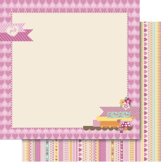 Baby Girl Picture Frame 12x12 Double Sided Scrapbooking Paper