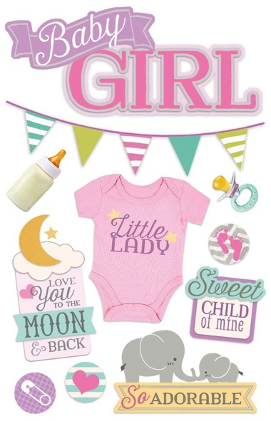 Baby Girl 3D Glittery Scrapbooking Stickers