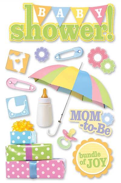 Baby Shower 3D Glitter Scrapbooking Stickers