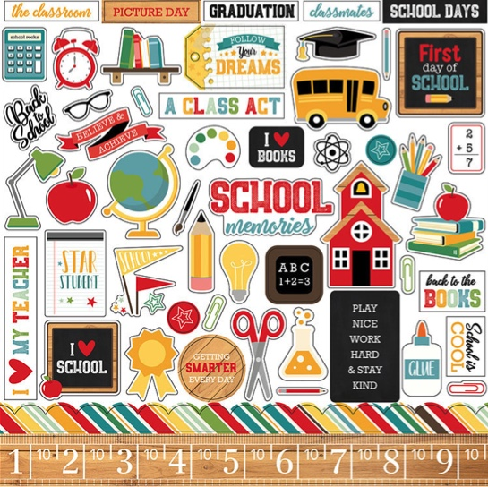 Back to School 12x12 Cardstock Scrapbooking Stickers and Borders