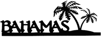 Bahamas Scrapbooking Laser Cut Title with Two Palm Trees