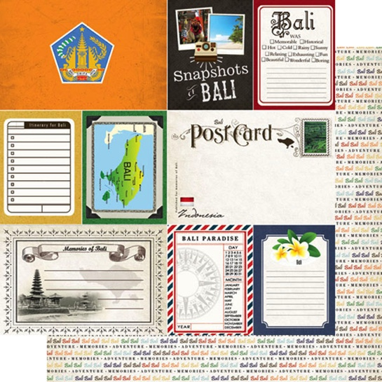 Bali Journal 12x12 Double Sided Scrapbooking Paper