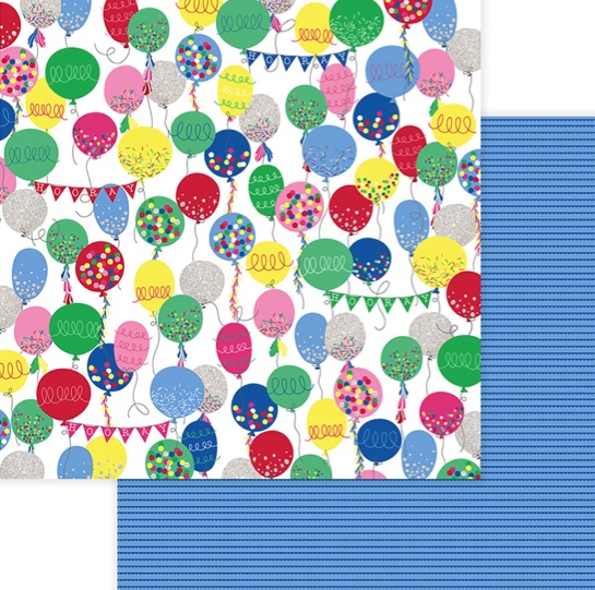 Balloons Hooray Double Sided 12x12 Scrapbooking Paper