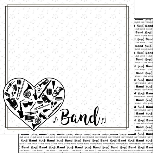 Band Instruments 12x12 Double Sided Scrapbooking Paper