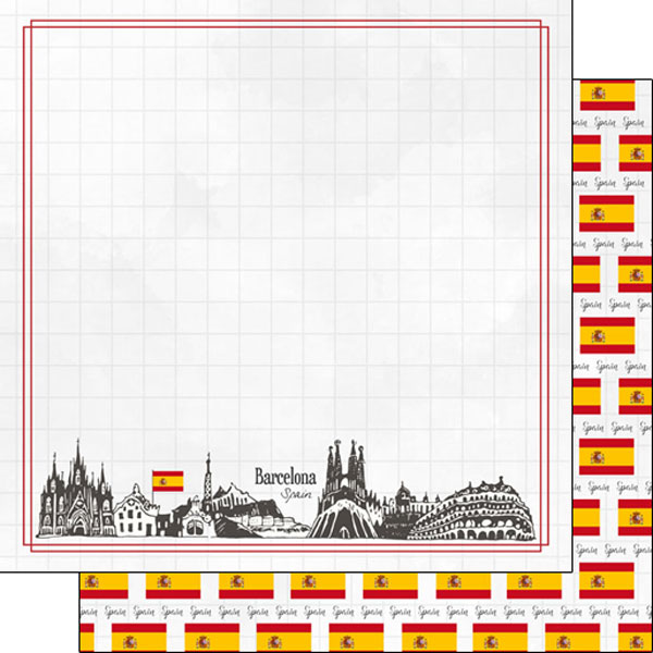 Barcelona Adventure 12x12 Double Sided Scrapbooking Paper