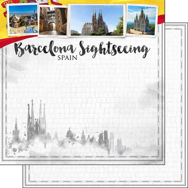 Barcelona Sightseeing 12x12 Double Sided Scrapbooking Paper