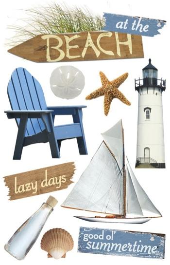 Beach 3D Glitter Scrapbooking Stickers