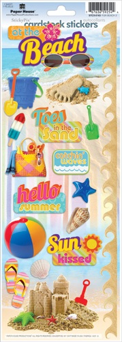 Beach Fun Cardstock Scrapbooking Stickers