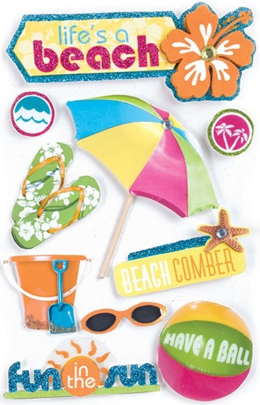 Life is a Beach 3D Glitter Scrapbooking Stickers