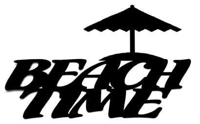 Beach Time Scrapbooking Laser Cut Title with beach umbrella