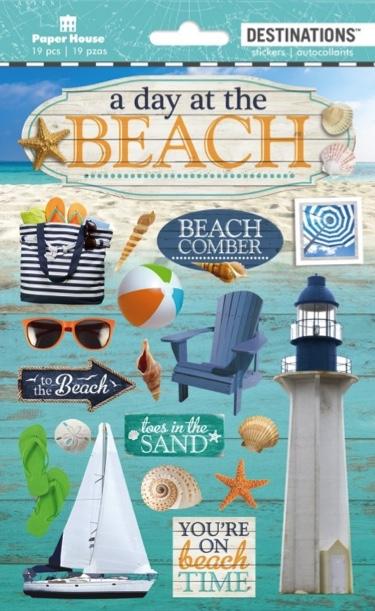 Beach Day 3D Destinations Scrapbooking Stickers