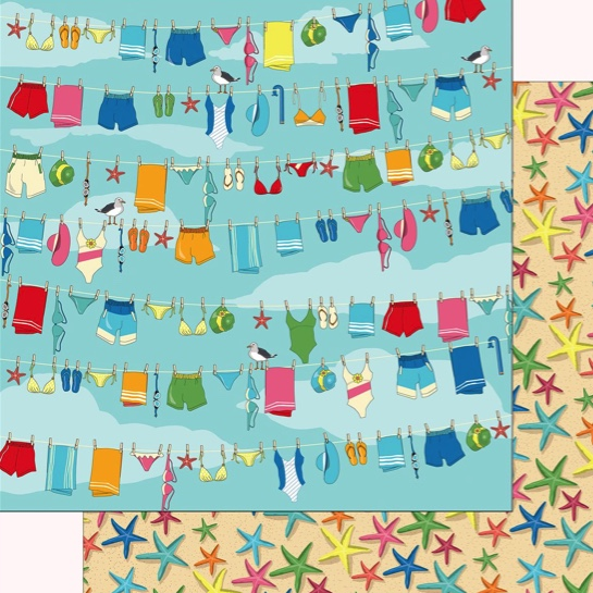 Beach Day Double Sided 12x12 Scrapbooking Paper