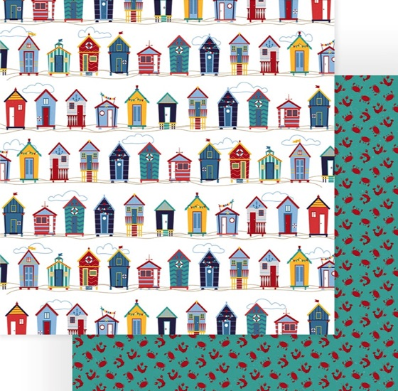 Beach Huts Double Sided 12x12 Scrapbooking Paper