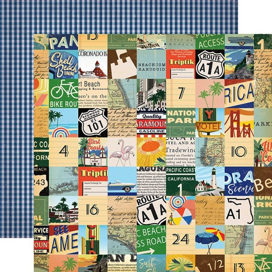 Beach Route 12x12 Double Sided Scrapbooking Paper