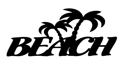 Beach Scrapbooking Laser Cut Title with Palm Trees