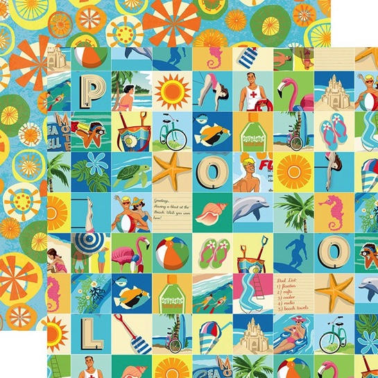 Beach Squares Double Sided 12x12 Scrapbooking Paper