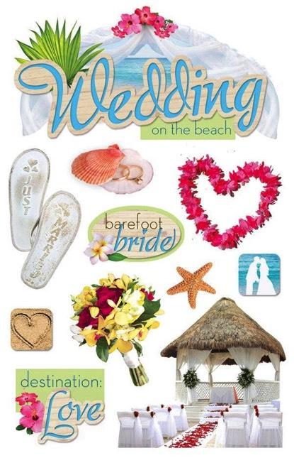 Beach Wedding 3D Glitter Scrapbooking Stickers