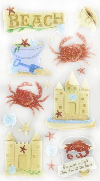 Beach and Crabs Scrapbooking Stickers