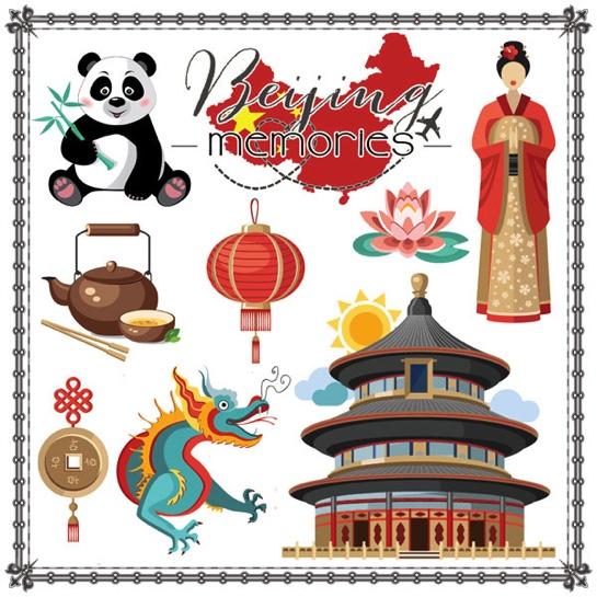 Beijing Memories Cut Outs 12x12 Scrapbooking Paper