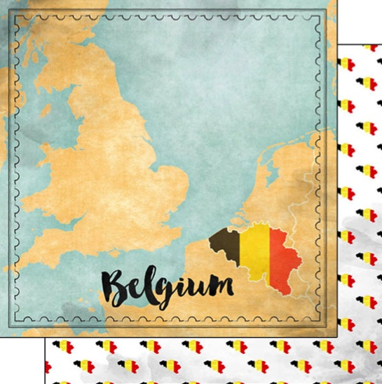Belgium Sights Map 12x12 Double Sided Scrapbooking Paper