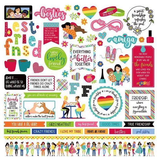 Best Friends 12x12 Cardstock Scrapbooking Stickers and Borders