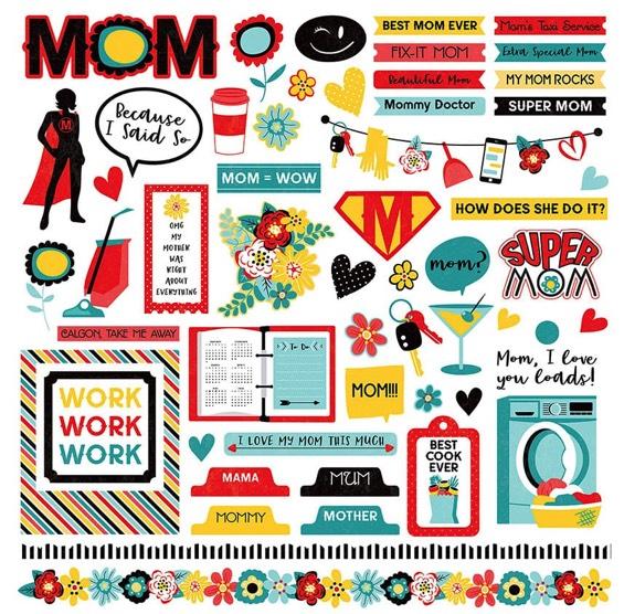 Best Mom Ever 12x12 Cardstock Scrapbooking Stickers