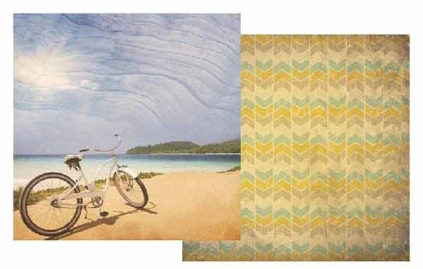 Bicycle On Beach 12x12 Double Sided Scrapbooking Paper