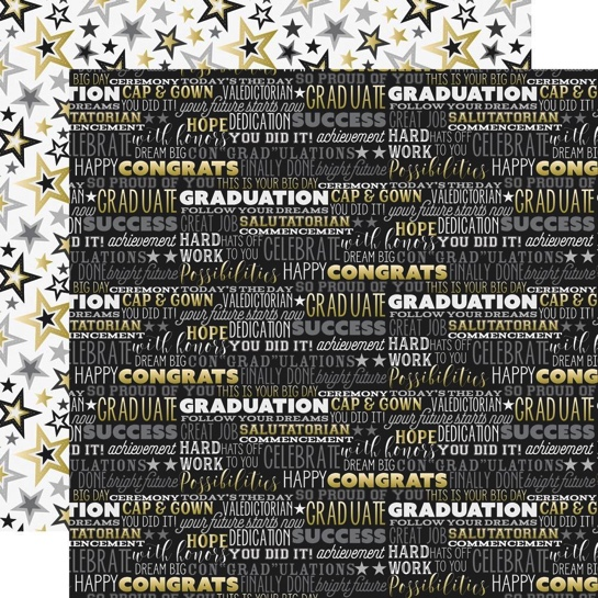 Graduation Big Dreams Double Sided 12x12 Scrapbooking Paper
