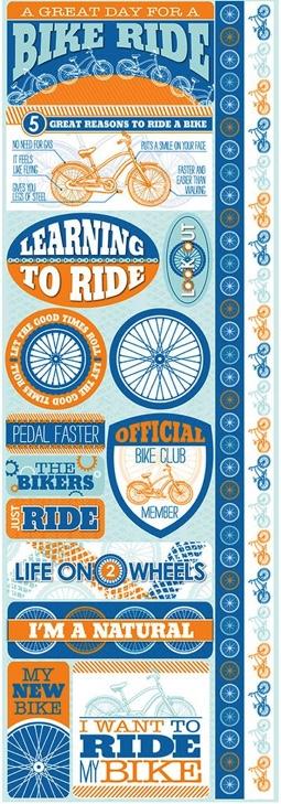 Biking Cardstock Scrapbooking Stickers and Borders