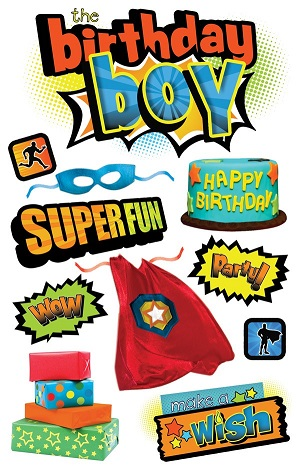Birthday Boy 3D Scrapbooking Stickers