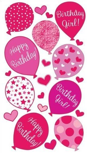 Pink Balloon Birthday Girl Scrapbooking Stickers