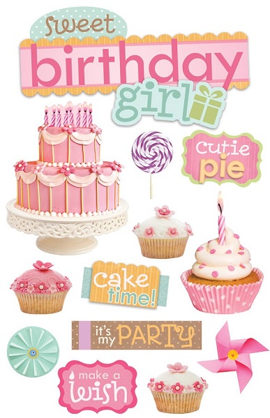 Birthday Girl 3D Scrapbooking Glitter Stickers