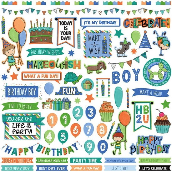 Birthday Boy Wishes 12x12 Cardstock Scrapbooking Stickers