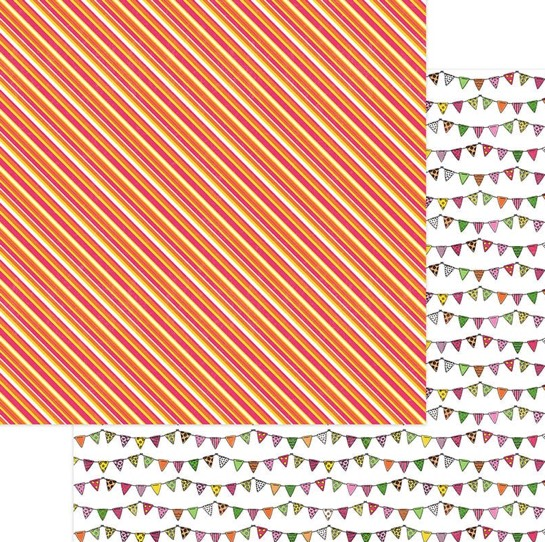 Birthday Bunting Double Sided 12x12 Scrapbooking Paper