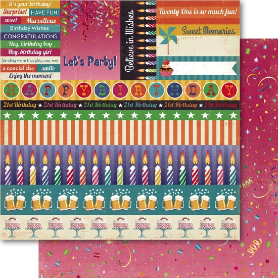 Birthday Cut Outs 12x12 Double Sided Scrapbooking Paper