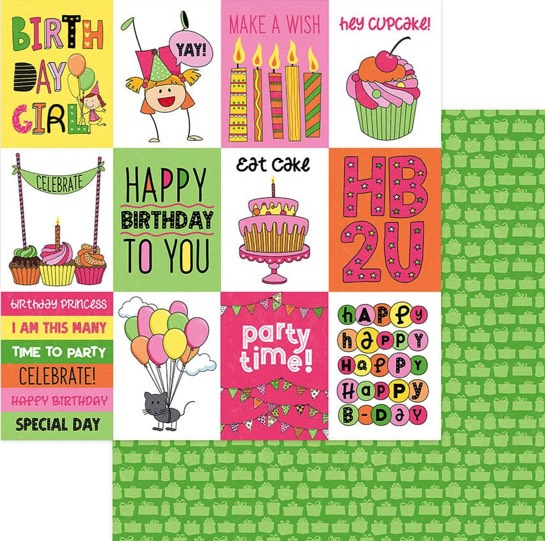 Birthday Girl Celebrate Double Sided 12x12 Scrapbooking Paper