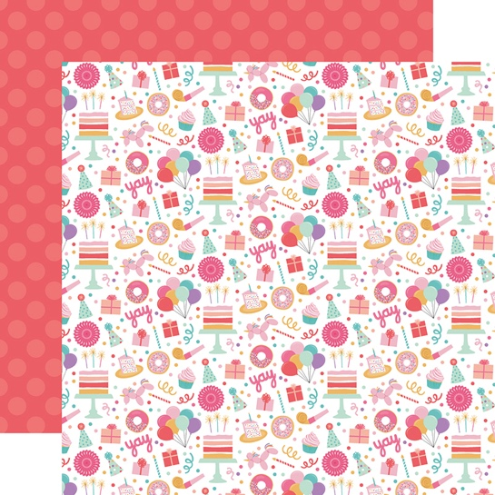 Birthday Girl Fun Double Sided 12x12 Scrapbooking Paper
