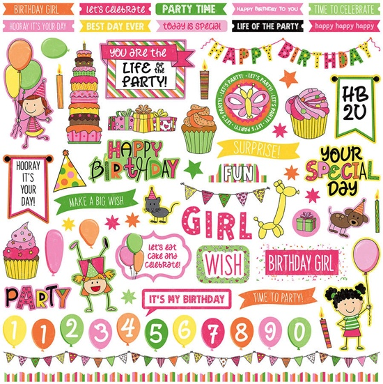 Birthday Girl Wishes 12x12 Cardstock Scrapbooking Stickers