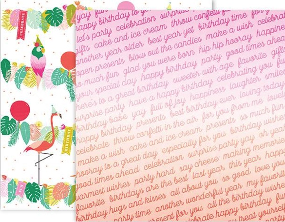 Birthday Wishes Double Sided 12x12 Scrapbooking Paper