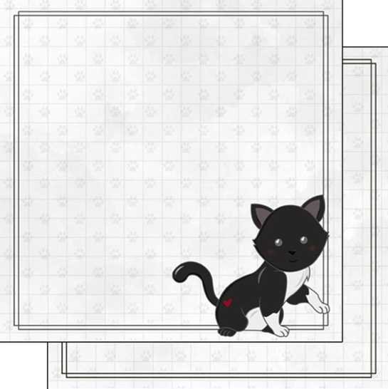 Black Cat 12x12 Double Sided Scrapbooking Paper